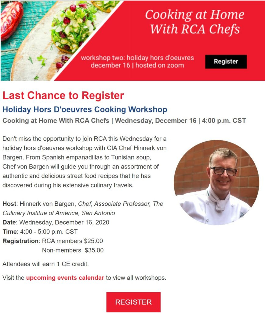 Cooking at Home with RCA Chefs Class #2!